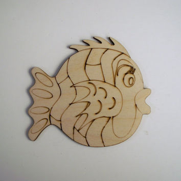 Whimsical Fish Wood Shape, 6 PIECES,  Laser Cut and Etched, Home Decor, Wood Ornaments, Favors, Ready to Paint Wood Shapes