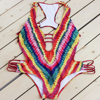 2017 New Sexy Handmade Crochet One-Piece Suits Women Swimwear Unique Cut Out Swimsuit Push Up Bodysuit Bathing Suit Monokini