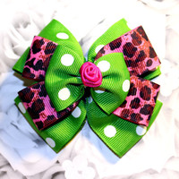 Awesome Little Rockin Rose Bow with Green Polka Dot & Pink Leopard Print - Pinup Rockabilly Hair Clip Accessory