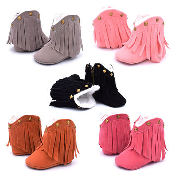 Cowboy Boots For Girls With Studs Baby First Walkers Baby Shoes Fashion Snow Boots for Kids Solid Fringe Winter Warm Snow Shoes