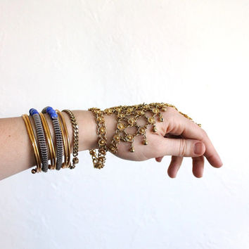 Vintage 70s Gold Bohemian Indian Slave Bracelet // Wrist to Finger Jewelry