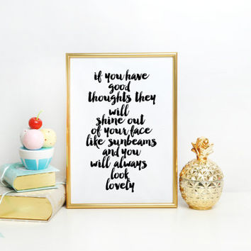 Nursery print,New Baby Gift,If You Have Good Thoughts Quote,Blue Peach Nursery Art,Roald Dahl Quote Boys Room Print Inspirational Quote