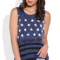 Mineral Wash Tank Top with American Flag Love Never Ends Screen