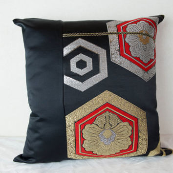 Kimono Cushion, Japanese Cushion; Kimono Obi Cushion; Kimono Tango Cushion; One of a Kind Cushion; Elegant Cushion; Unique Cushion