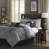 Connell 7 Piece Comforter Set Color: Grey, Size: Queen