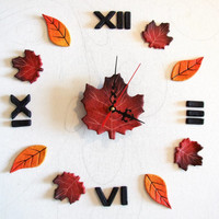 Wall clock adhesive autumn leaves  Clock with Roman numerals   Wall clock colorful leaves
