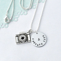 camera necklace Personalized initial camera by myjewelrystory