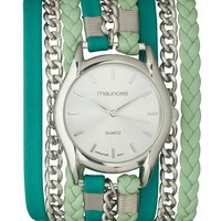 mint braid and chain wrap watch