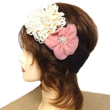 Women's ivory loopy brown, ivory & rose pink tulle flower pearl rhinestone crochet headband, brown ear warmer, corsage headband