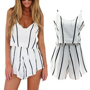 2018 Fashion Women Ladies Clothes Strap Deep V Neck Vertical Striped Crop Top Camis Tank Shorts Elastic Waist 2pcs Set Summer