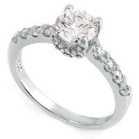 Sterling Silver 1 carat Round Cut CZ Fancy Engagement Ring with Pave Set Basket size 5-9