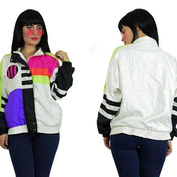 vintage 90s neon windbreaker pop art colorblock neon jacket 1990s 1980s satin coat striped pastel vivid grunge small medium