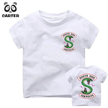 Kid's Moive South Side Serpents Print T-shirts Boy and Girl Harajuku Riverdale Tshirt Summer Baby Hipster Top Children Clothes