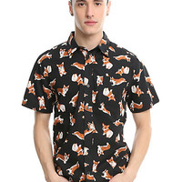 Corgi Allover Print Woven Button-Up