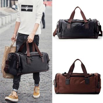Leather Outdoor Sports Handbags Travel Shoulder Gym Fitness Duffel Bag 49x22x25cm