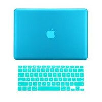 "TopCase 2 in 1 Rubberized AQUA BLUE Hard Case Cover and Keyboard Cover for Macbook Pro 13-inch 13"" (A1278/with or without Thunderbolt) with TopCase Mouse Pad"