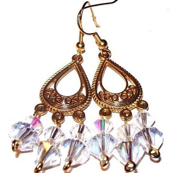 "Crystal AB Dangle Earrings Etched Gold Hoops Wire Hooks Pierced ears 2 1/2"" Vintage"