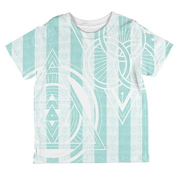 Summer Sacred Geometry Teal Stripes All Over Toddler T Shirt