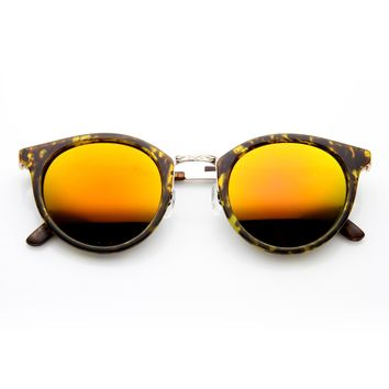 Vintage Dapper P3 Horned Rim Mirror Lens Sunglasses 9617