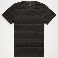 Blue Crown Apache Stripe Mens Notch V-Neck Tee Black  In Sizes