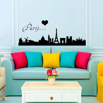 Paris Wall Decal City Skyline France Eiffel Tower Decal Vinyl Sticker Wall Decor Home Interior Design Art Murals U328