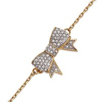 Juicy Couture Bracelet, Gold-Tone Pave Bow Pendant Bracelet - Fashion Jewelry - Jewelry & Watches - Macy's
