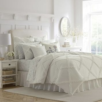 Adelina Ruffle Cotton Comforter Set by Laura Ashley Home