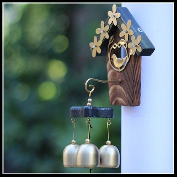 nice post mount Outdoor Decorative Wind chimes With Bronze Bell Home Decor