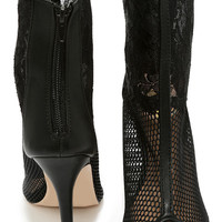 C'est La Vie Black Mesh and Lace Booties