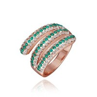 18K Rose Gold Plated Green and White Swarovski Elements Crystal Ring, Size 8