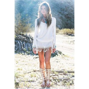 Hollow Out Hot Sale Sexy Long Sleeve Lace Tassels Beach One Piece Dress [18593710106]
