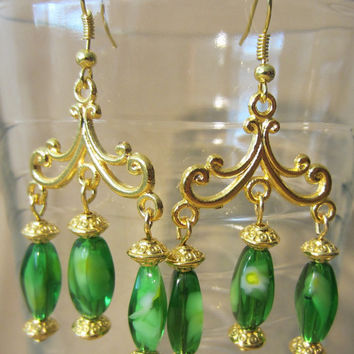 Gold Flourish & Peridot Aqua Glass Chandelier Earrings, Handmade, Luxury, Classic Style, Bold Elegance, Fashion Jewelry, Bright Colors, Big