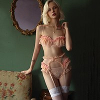 Sexy Bra and Thongs Pajamas Lingerie Set with Garter