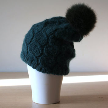 Women's hat  with fur pom pom, Cabled knit hat, Alpaca Merino hat, Green knit hat, Bobble hat, Recycled fur