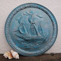 Vintage Sailboat Wall Plaque Pirate Ship Boat Nautical Wall Art
