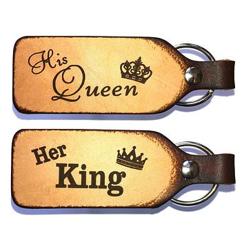 Her King & His Queen Leather Keychain Set