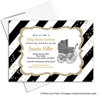 black and gold invitations | gender neutral baby shower invite baby carriage | black and white stripes | printable or printed - WLP00736