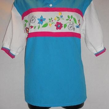 Vintage 80s Teal Pink Floral Windbreaker Polyester Blouse Collared Shirt Polo