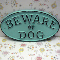 Beware of Dog Oval Cast Iron Sign Smaller Design Coastal Beach Cottage Blue Wall Gate Fence Door House Warning Plaque Shabby Style Chic