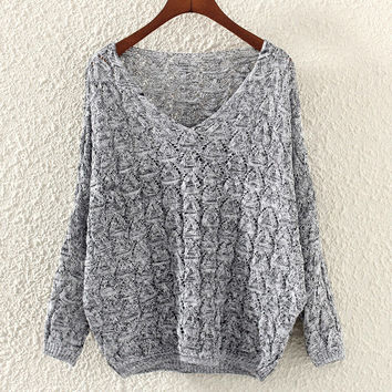 Women's Lightweight V Neck Comfortable Gray Knit Sweater