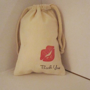 """10 Red Lip Kiss Thank you  party favor bags 4"""" by 6"""" made of Organic Cotton - you choose ink color(s)"""