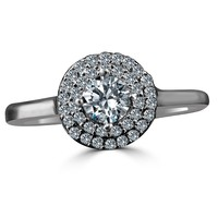 0.25 CT. Intensely Radiant Round Center w/Double Halo Diamond Veneer - Engagement/Wedding Sterling Silver Ring. 635R3227