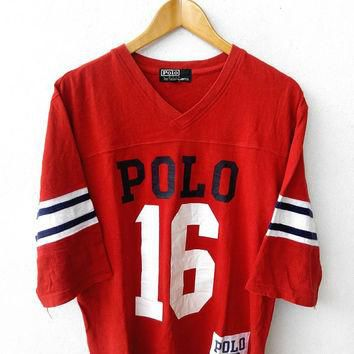 POLO By Ralph Lauren Vintage 90's Rugby Vneck Tee Hip Hop Red T Shirt Size L