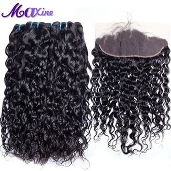 Maxine Hair 3 Bundles Brazilian Water Wave Pre Plucked Lace Frontal Closure With Bundles Human Hair Weave Non Remy Natural Color