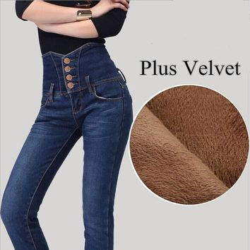 New Arrival 2016 Winter High Waist Women Jeans Plus Velvet Warm Jeans High Quality Fashion Design Skinny Boot Cut Jeans Tl60