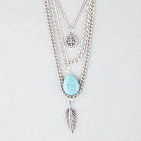 FULL TILT 3 Row Peace/Turquoise/Leaf Necklace | Necklaces