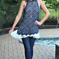 Lyrical Love Navy Crochet Dress