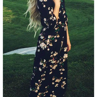Floral Dress Spring - Navy Long Sleeve Floral Maxi Dress