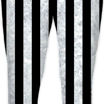 Beetlejuice suit pants, black and white vertical stripes pattern, worn out, dirty look joggers