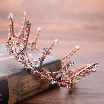 Cool Beauty Coffee Gold Tiara Crown Baroque Retro Queen King Crowns Bridal Wedding Headdress Rhinestone Tiaras Hair accessoriesAT_93_12